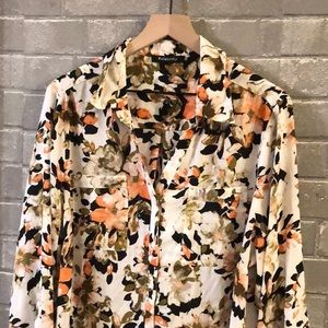 Relatively 2x blouse coral floral